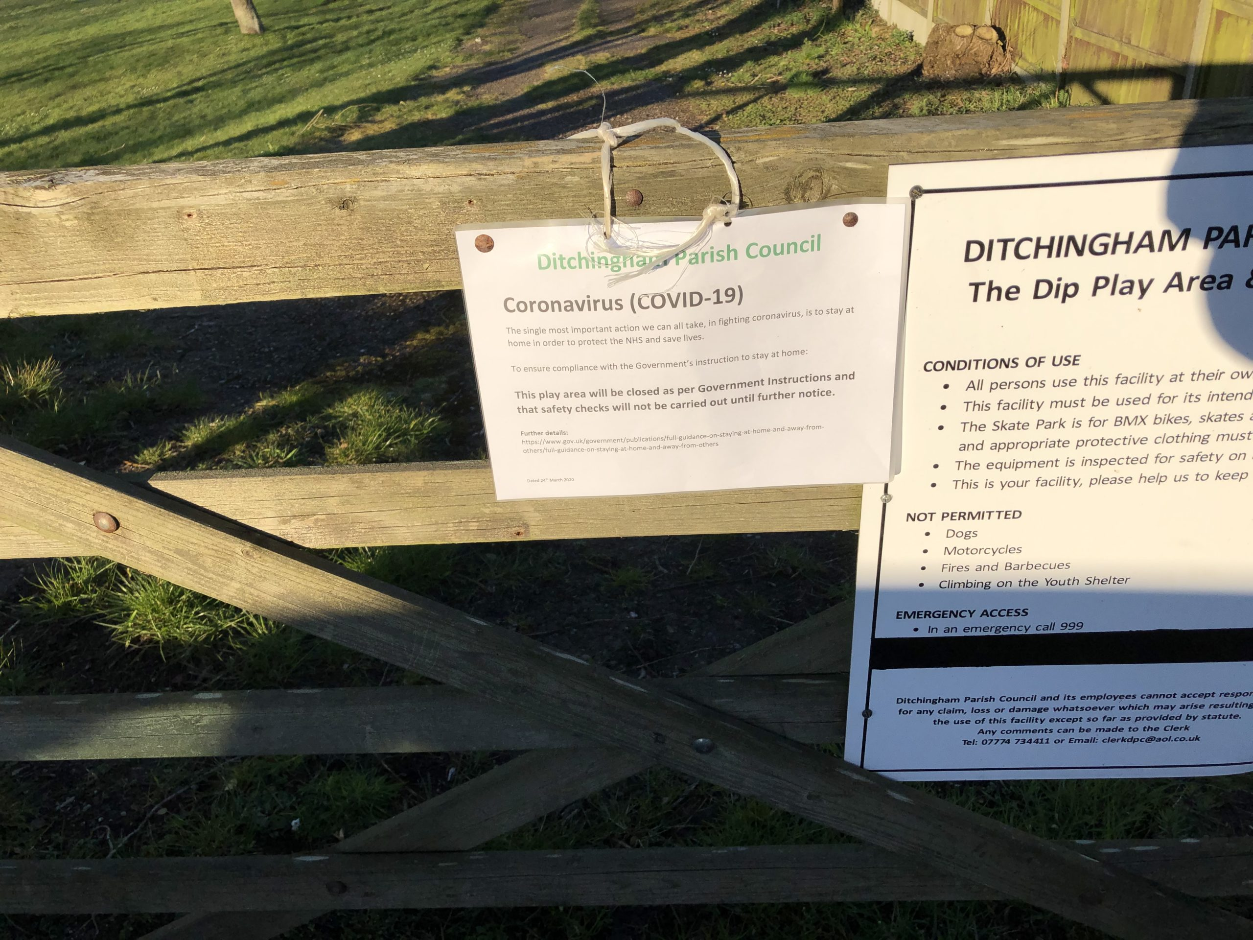 Ditchingham Parish Council's signs sadly closing the Play Areas because of the Coronavirus (COVID-19).