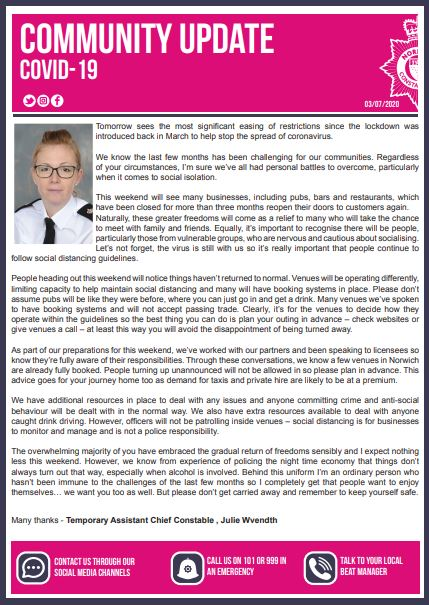 POLICE COMMUNITY UPDATE POSTER - COVID-19
